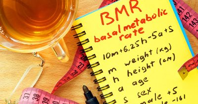 BMR basal metabolic rate formula on a notepad