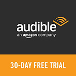 Logo - Audible 'An Amazon Company' with 30-Day Free Trial Message
