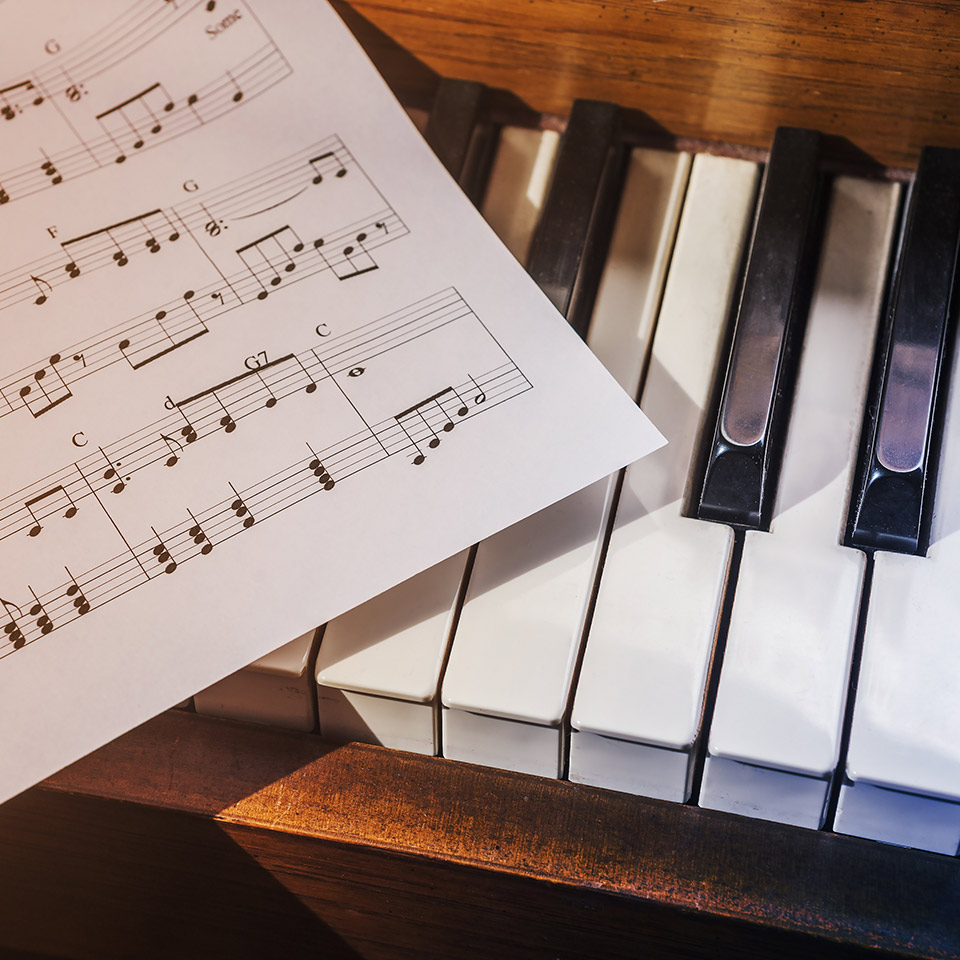 Piano keys and a piece of sheet music