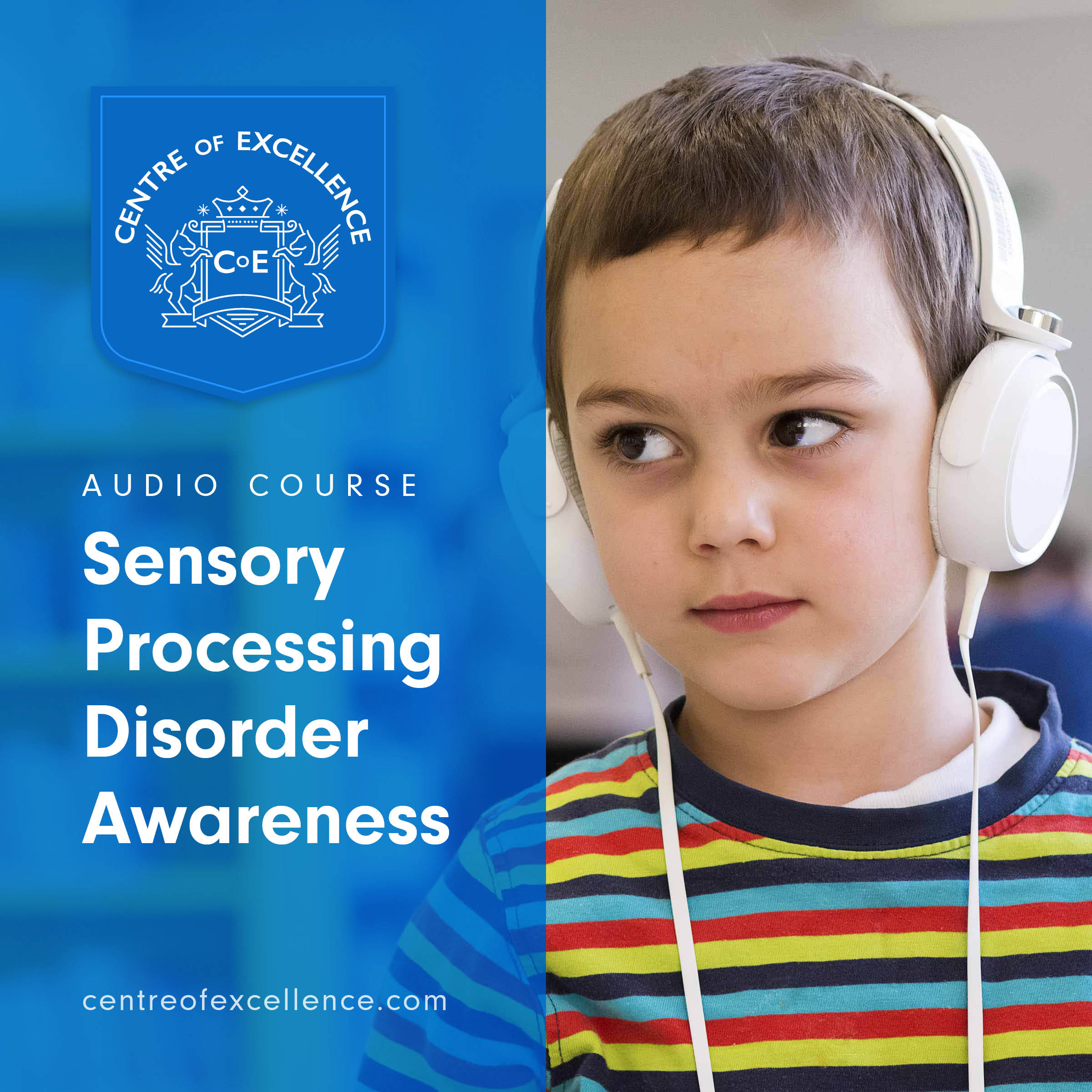 Sensory Processing Disorder Awareness Audiobook Cover - A photograph of a boy with Sensory Processing Order in a library, with headphones on