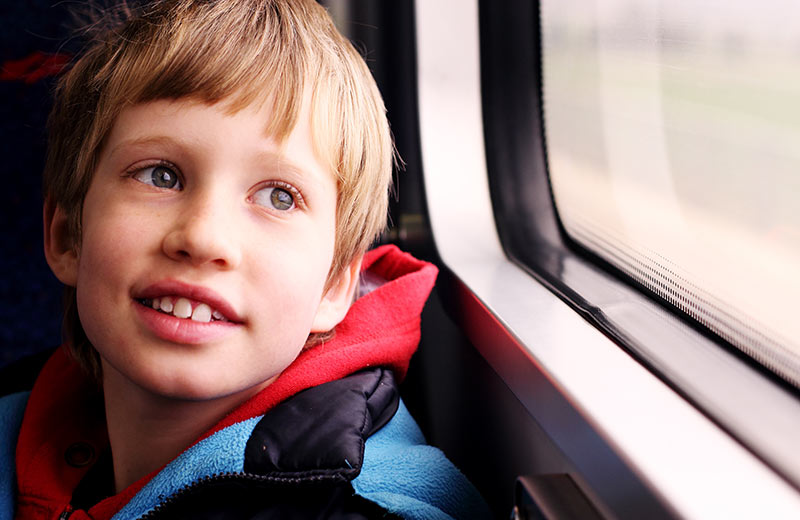 Happy child with early signs of autism