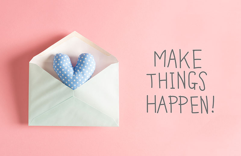 "Crafting: ""Make Things Happen"" text next to a hand crafted heart in an envelope"