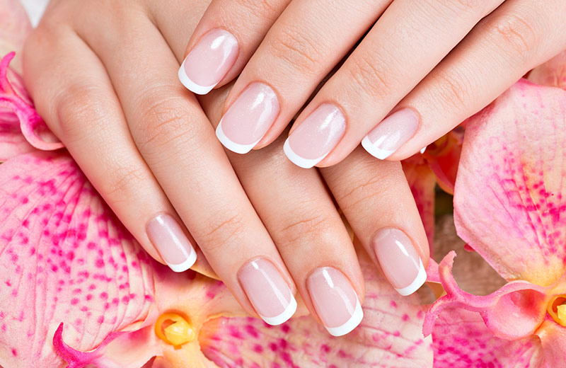 Woman's hand with flowers in the background, showing the results of using our natural nail care tips