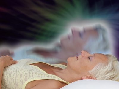 Woman using astral projection to access different realms of existence