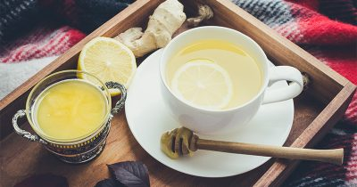 Herbalist remedy tea consisting of ginger, lemon and honey