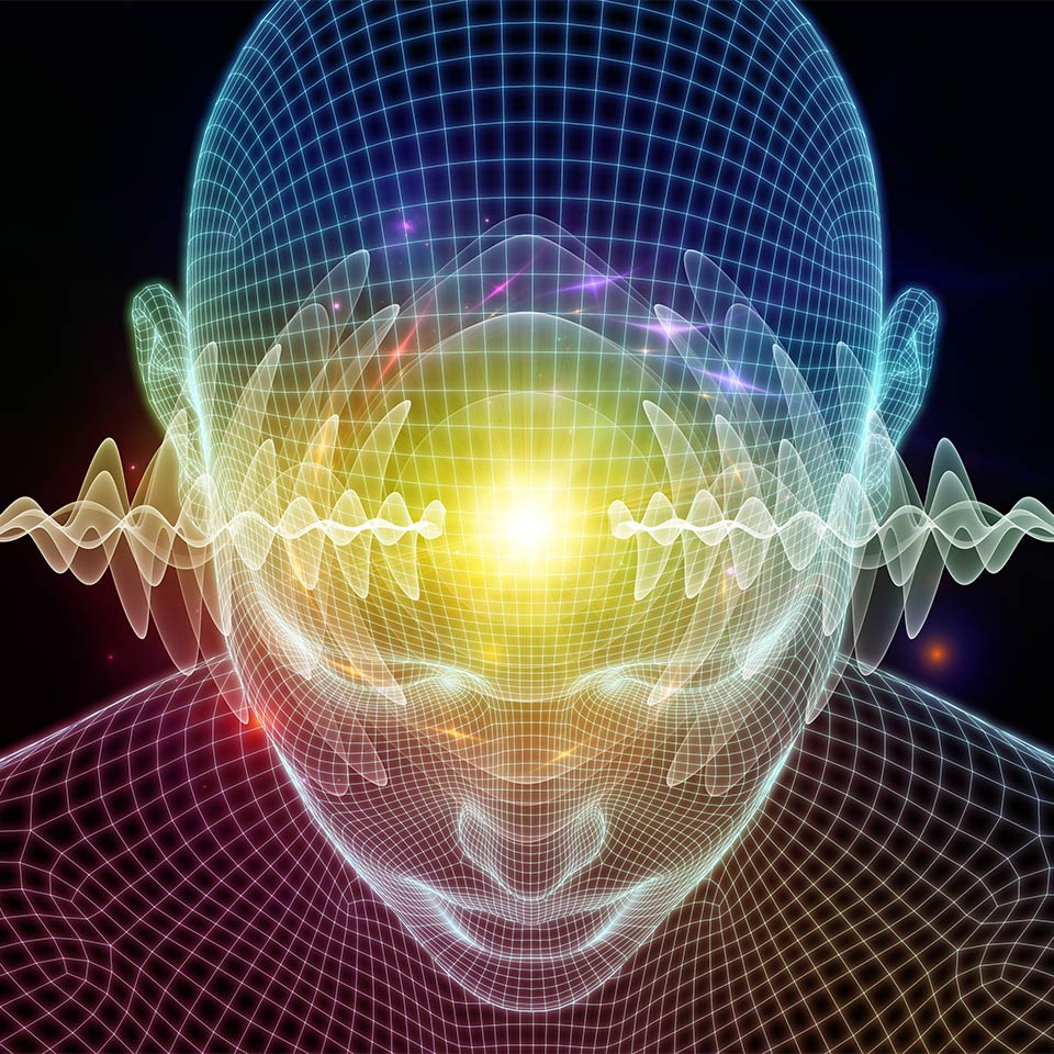 3D Illustration of human head as the mind engages in remote viewing
