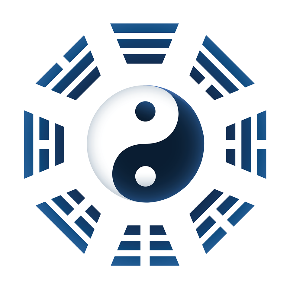 Trigrams or Bagua of I Ching - Yin Yang symbol in the middle