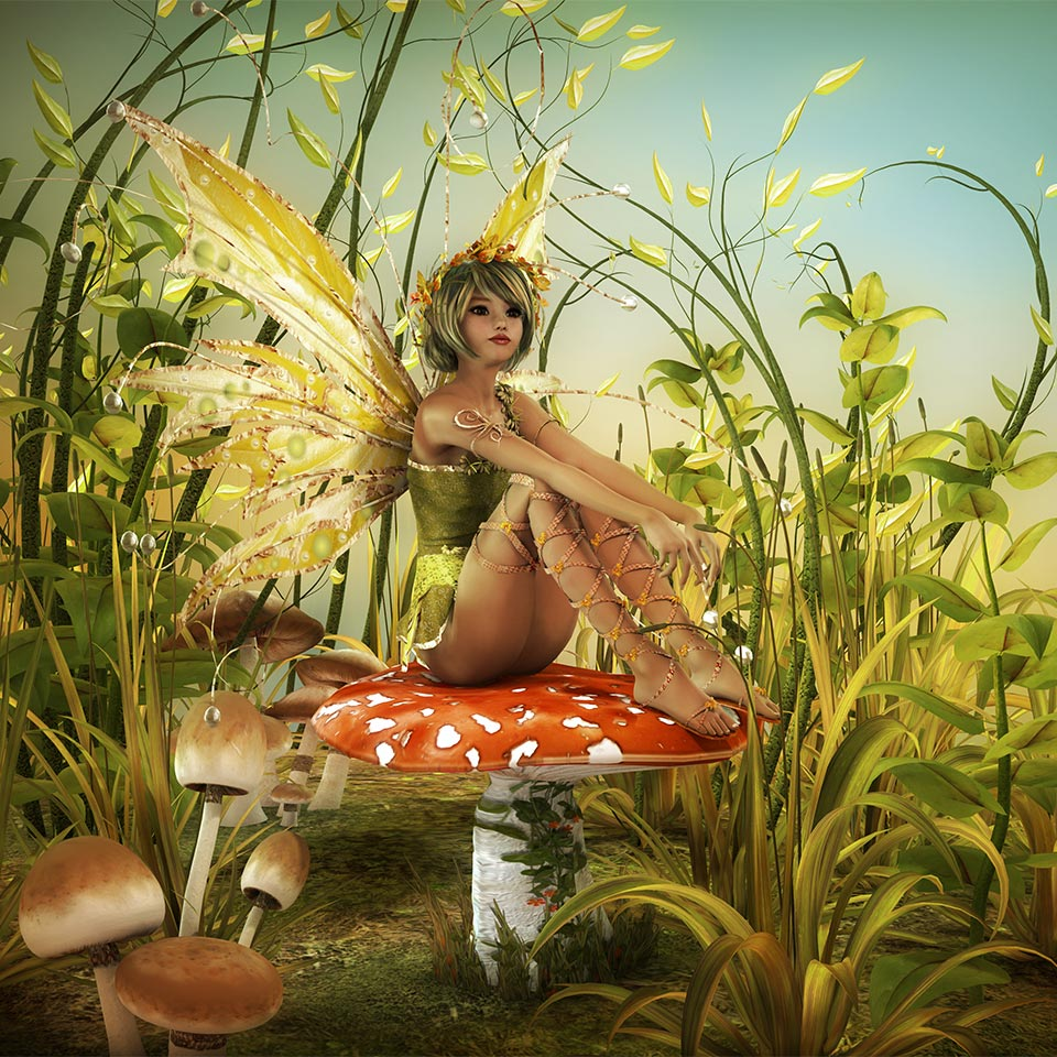 A fairy sitting on top of a toadstool.