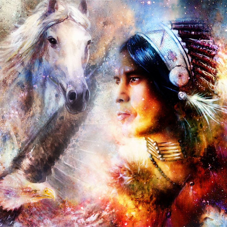 Painting of a young Native American warrior wearing a feather headdress and facing and eagle and a horse.