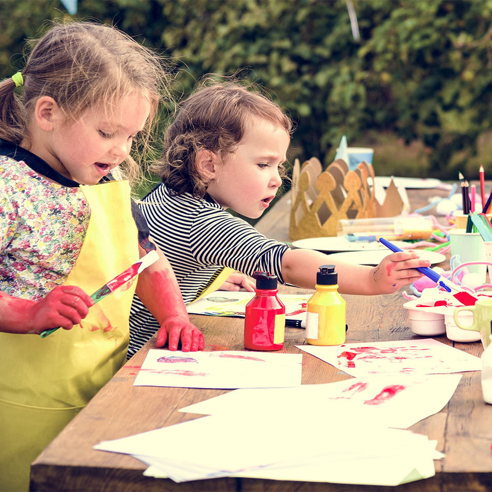 Children Learning to Paint