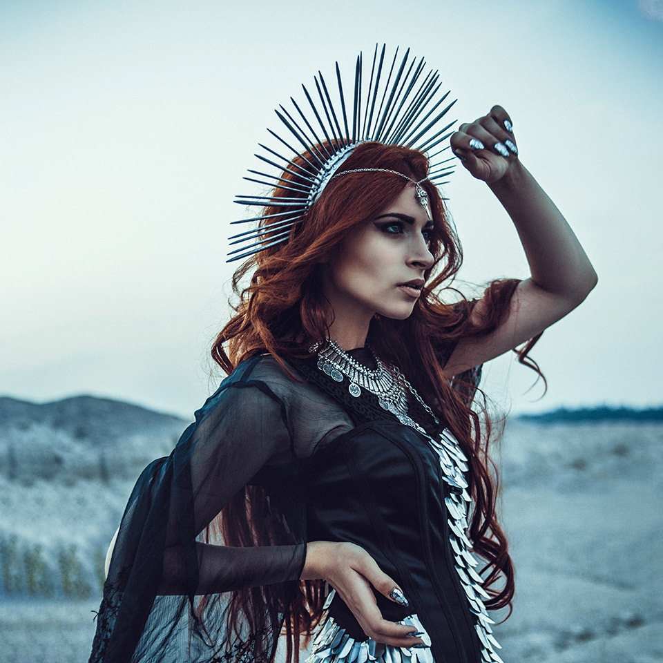 Woman dressed as the Greek goddess, Hecate