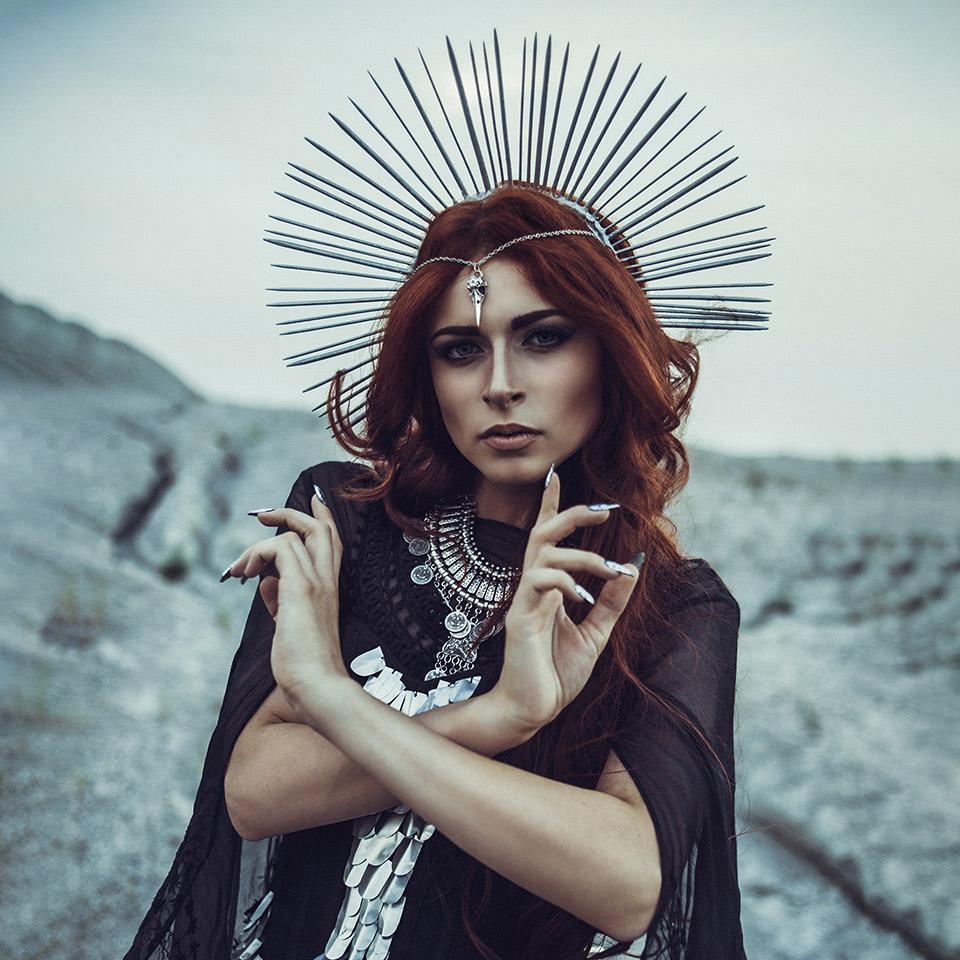 Woman dressed as the Greek goddess, Hecate goddess