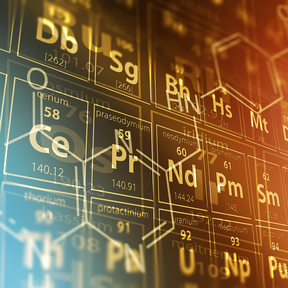 Periodic table and the structural formula of a chemical compound
