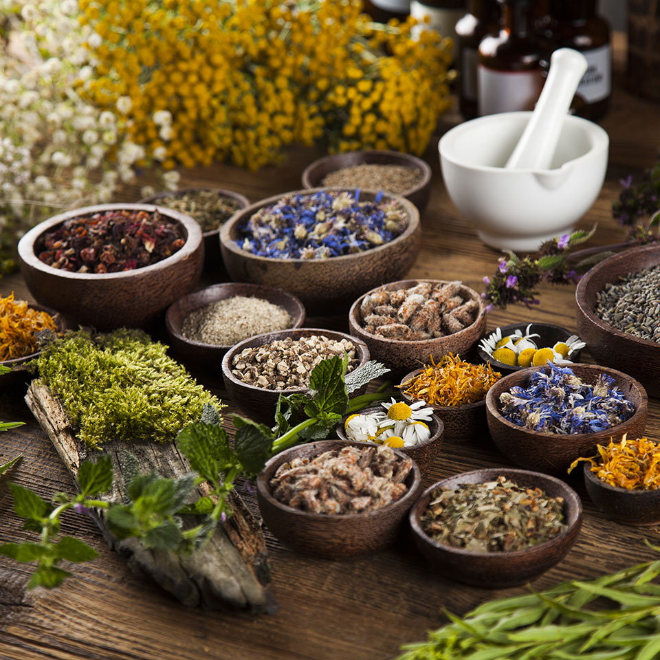 A table of herbs in bowls and mortar