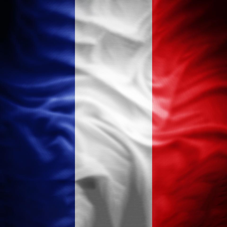 3D illustration of the flag of France