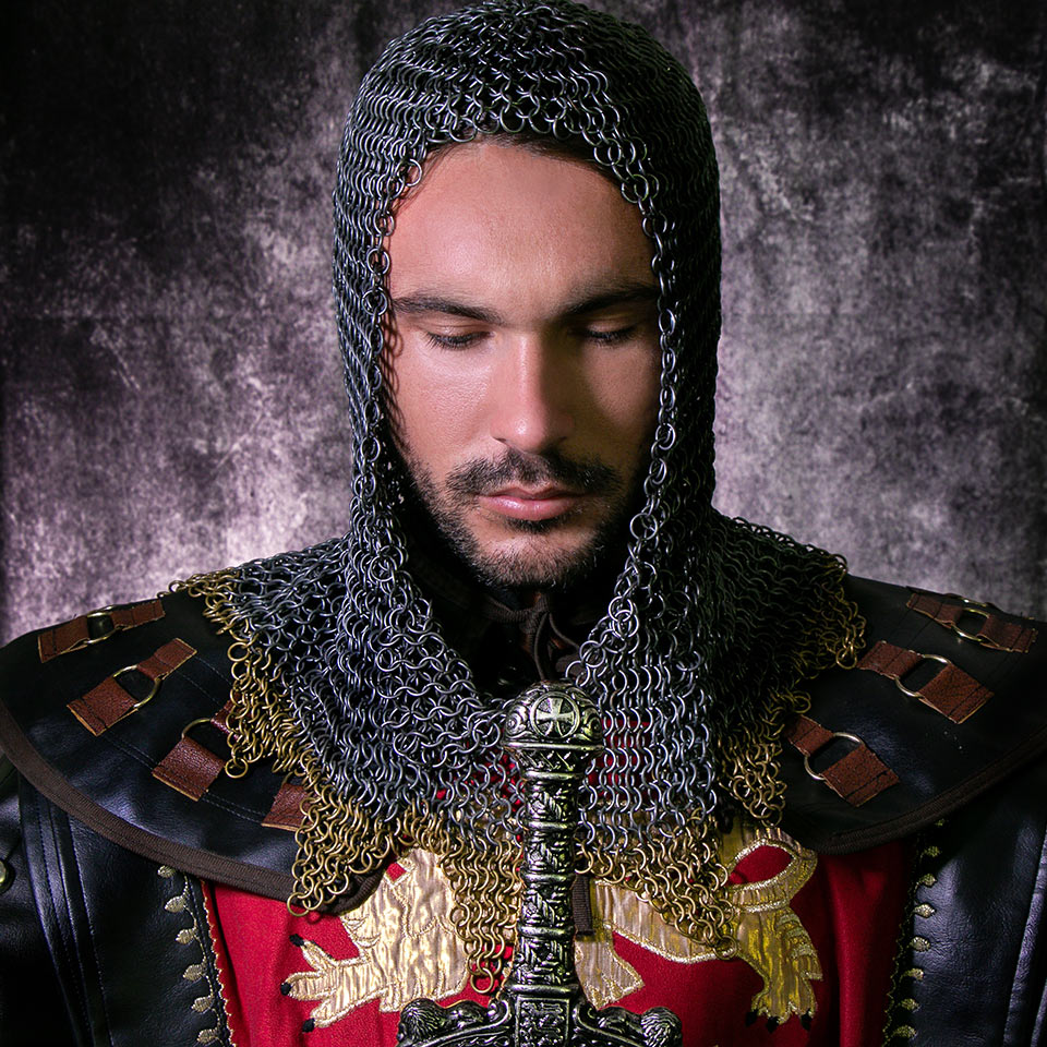 Photograph of a medieval knight in suit of armour