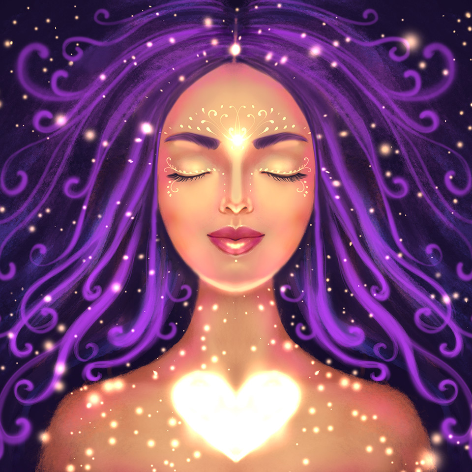 Illustration of a woman on a dark background with a shining heart