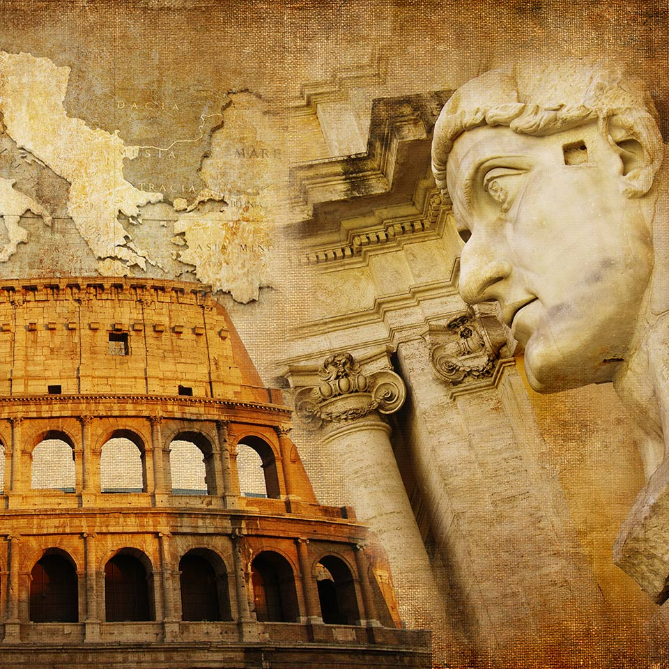 Collage of images of the Roman empire