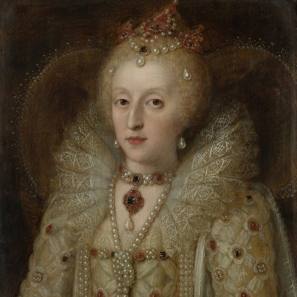 Portrait of Elizabeth I, Queen of England, by Anonymous, c. 1550-99, European painting, oil on panel