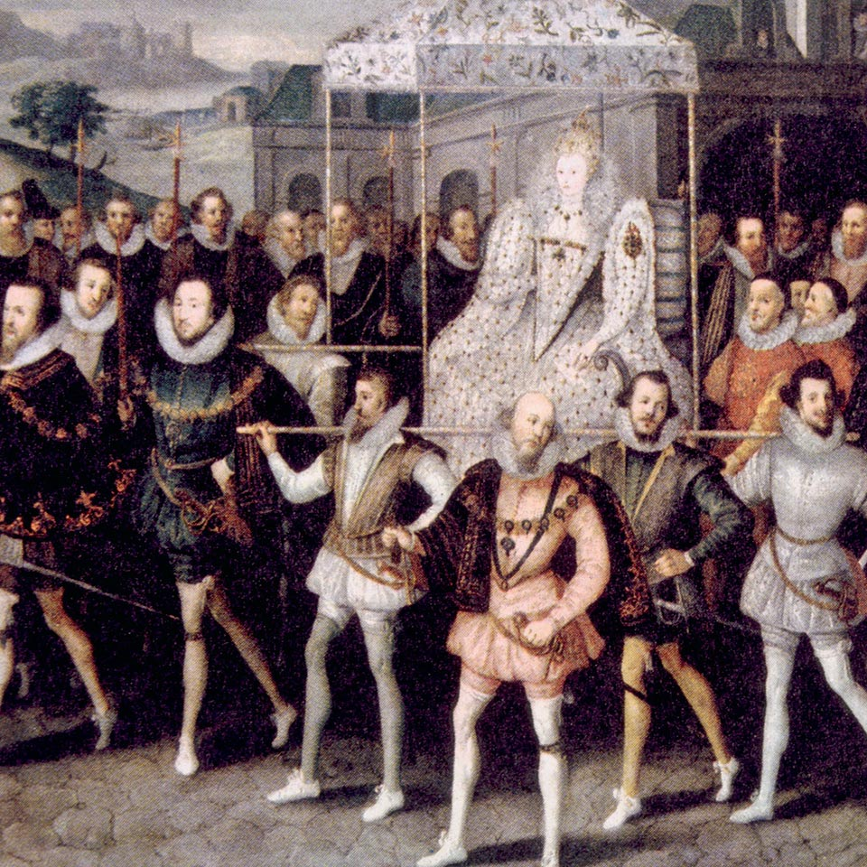 Queen Elizabeth I of England being carried by her courtiers