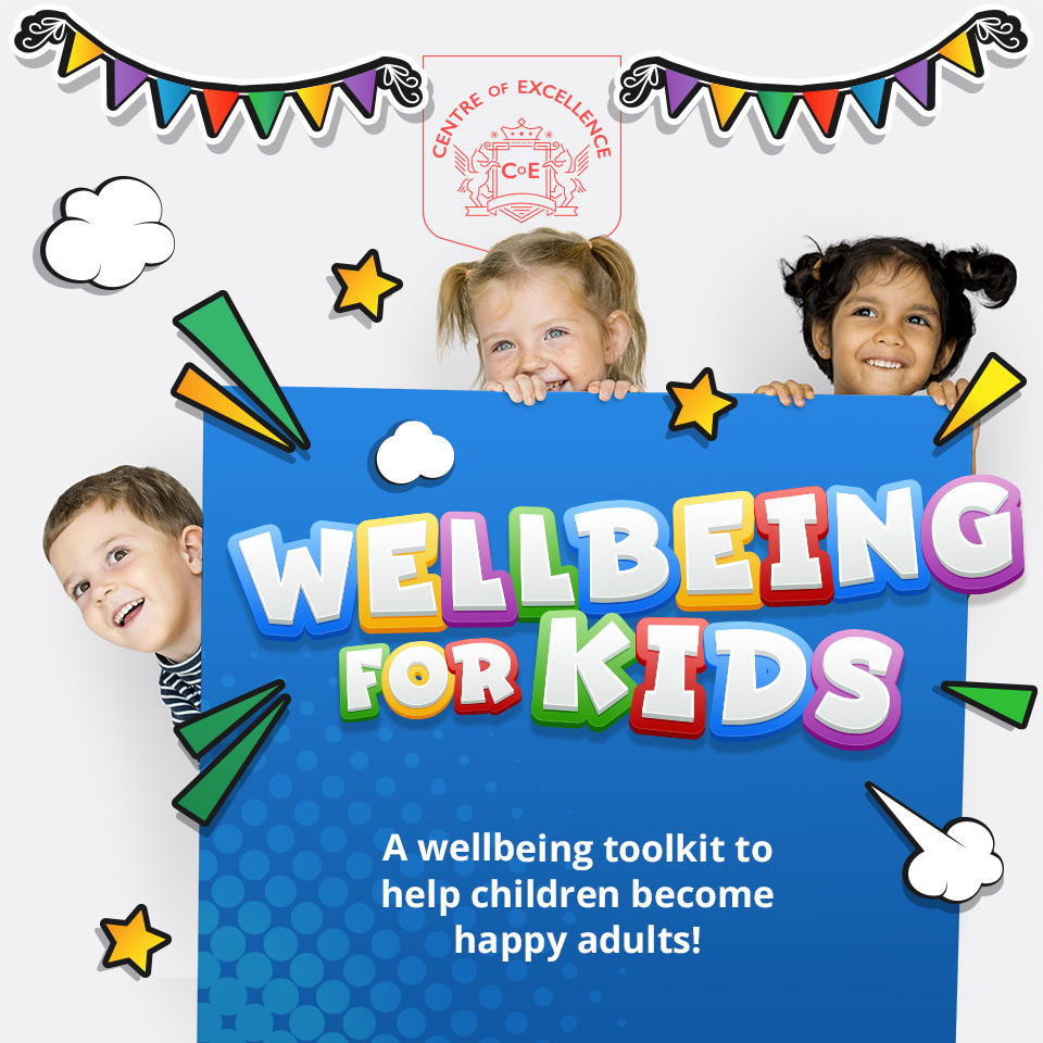 Children peeking from behind a blue box with the words Wellbeing for Kids A wellbeing toolkit to help children become happy adults! written on it