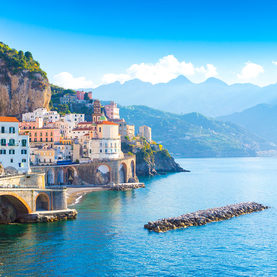Morning view of Amalfi cityscape on the coast line of mediterranean sea, Italy