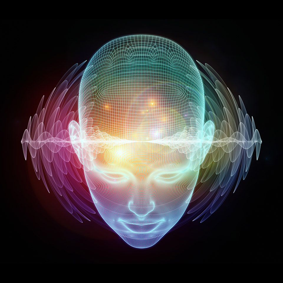 3D Illustration of human head and energy waves