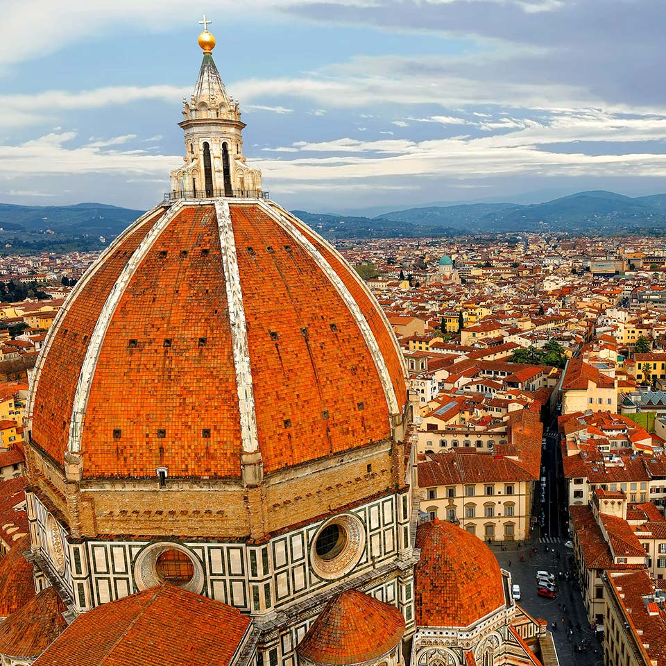 The dome of Cathedral Santa Maria del Fiore overlooking the old town of Florence