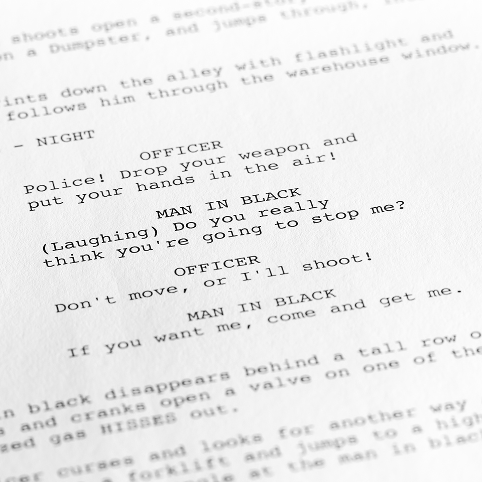 Close-up of a page from a script