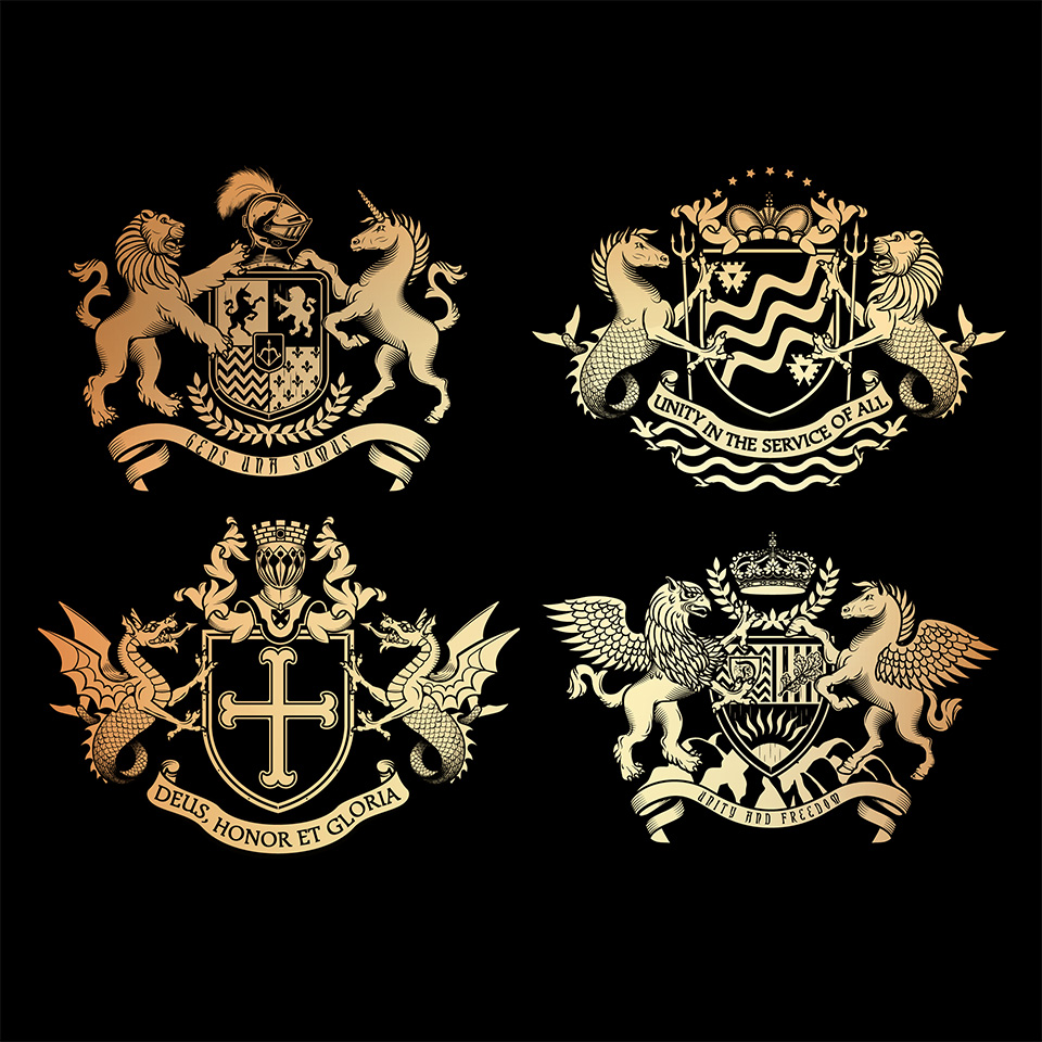 Heraldic design of a shield, crown, different beasts and knight helmet