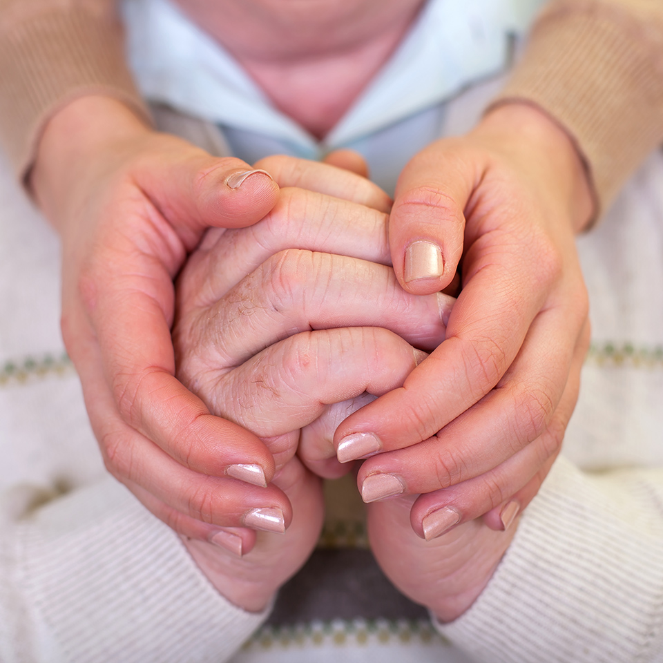 Close up of elderly hands encompassed by a young caretaker's hands