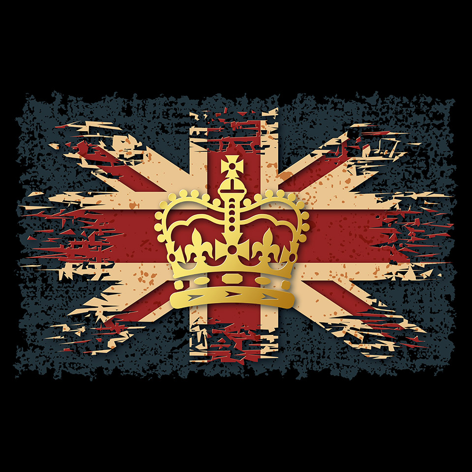 Illustration of the golden imperial state crown on grunge background with UK flag