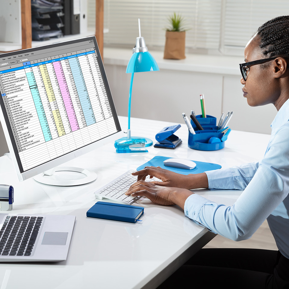 Side view of a businesswoman working on a spreadsheet at her desk