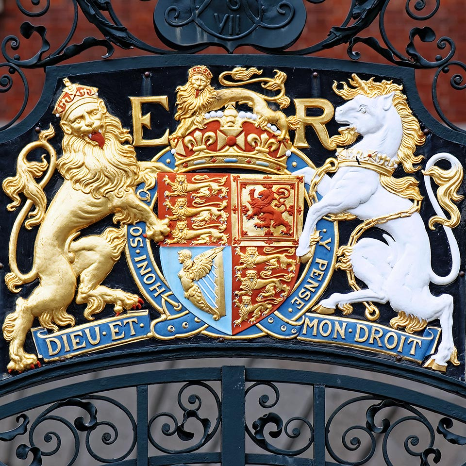 Coat of Arms – Lion and Unicorn on Westminster Gate, London, England, UK