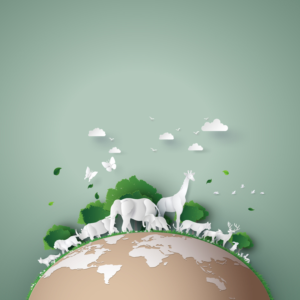 Illustration of a paper Earth covered with paper animals and trees