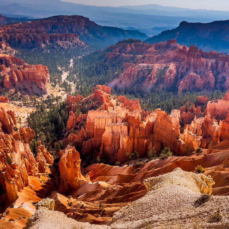 Southwest usa Bryce Canyon National Park (a rocky town of red-rose towers and needles in a closed amphitheater)