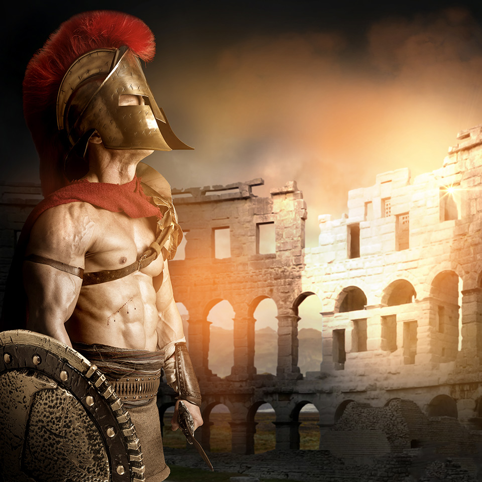 Ancient warrior posing in an arena