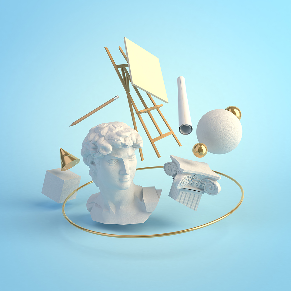 3d illustration concept of the art that was created during the Renaissance