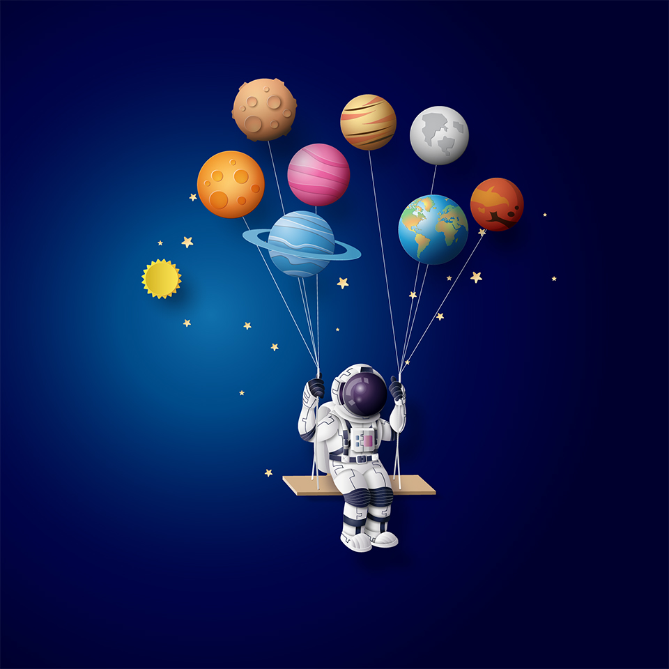 Astronaut sitting on a swing being held up by planet balloons