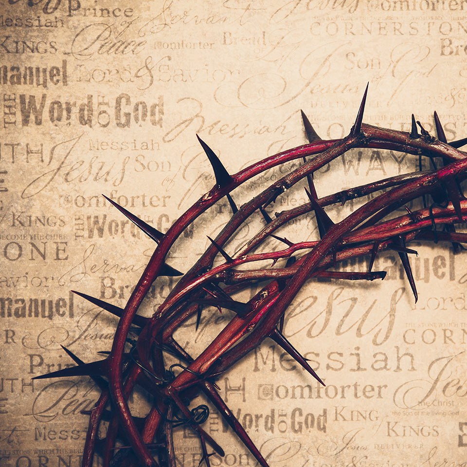 Crown of Thorns with Jesus' names and attributes in the background