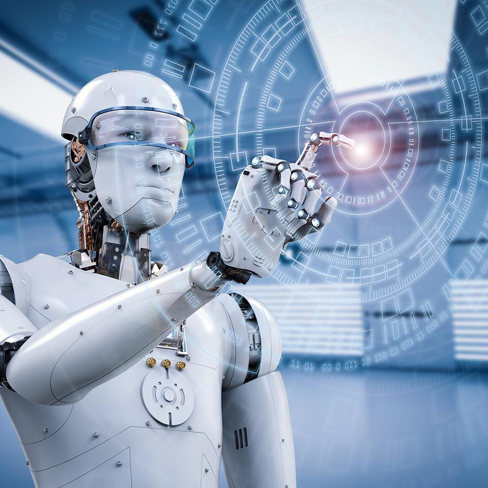 Robot working on a virtual display
