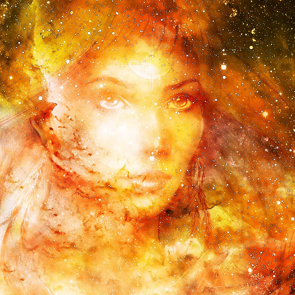 The face of Goddess Woman in cosmic space