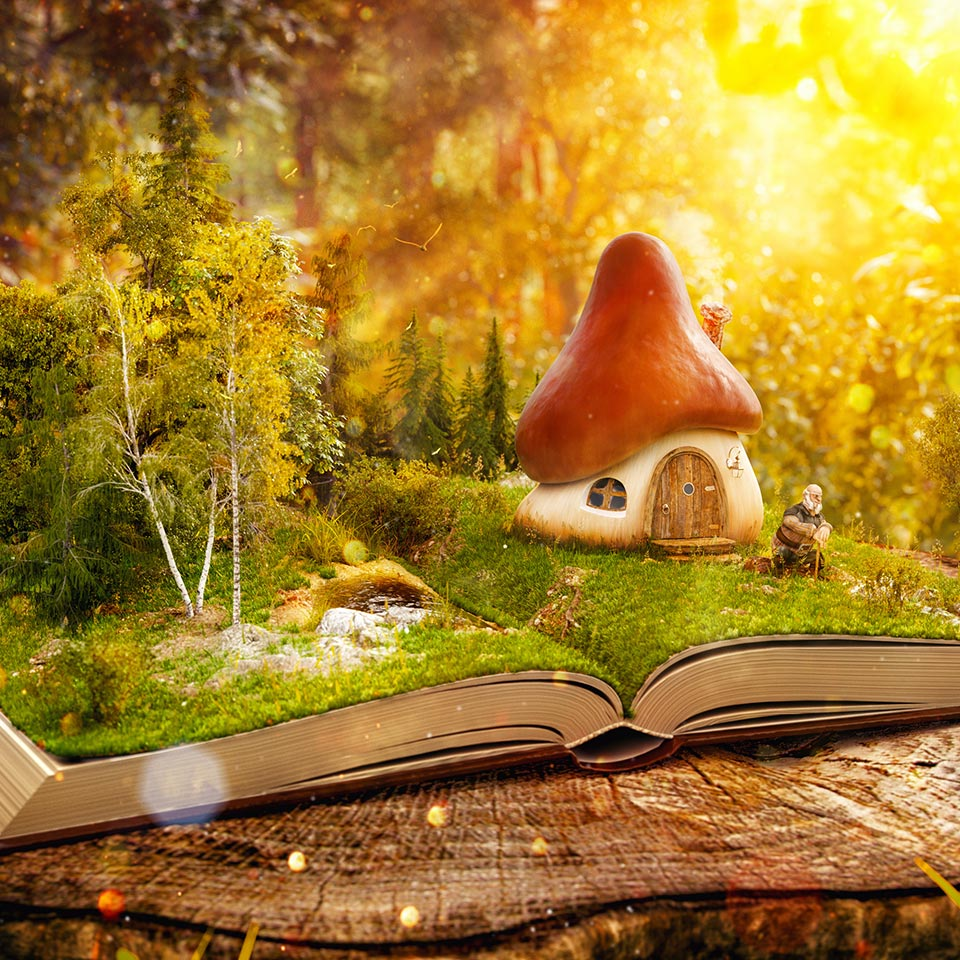 Magical cartoon mushroom house on pages of opened book in a fantastic forest
