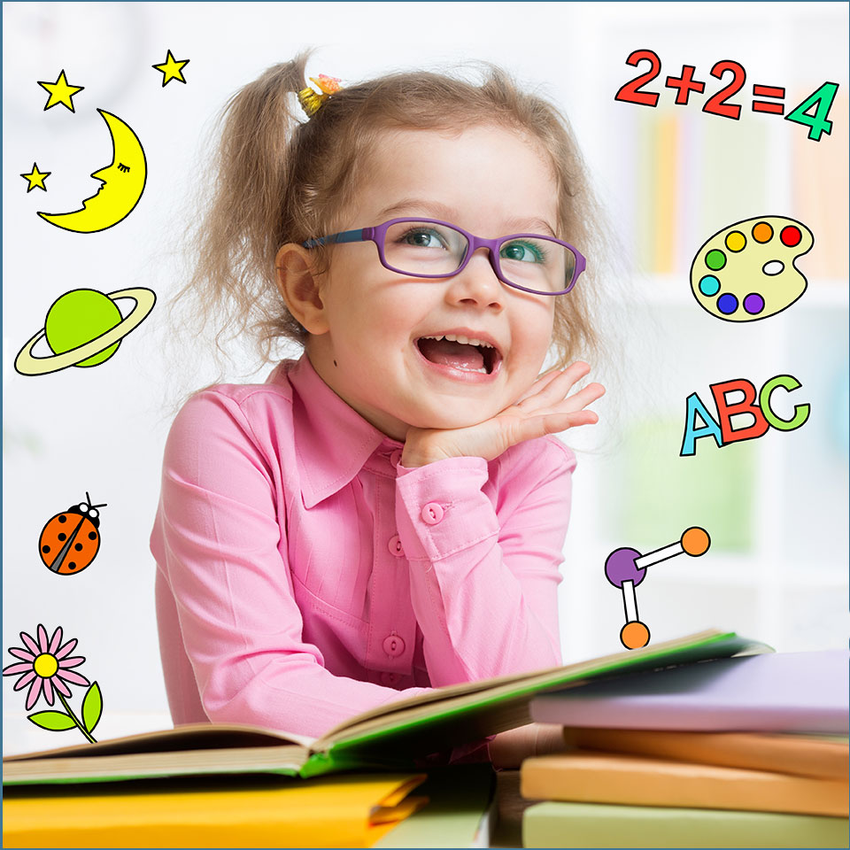 Clever-looking girl in nursery, surrounded by illustrations of what she has leaned about - ABC, sums, nature, painting, planets
