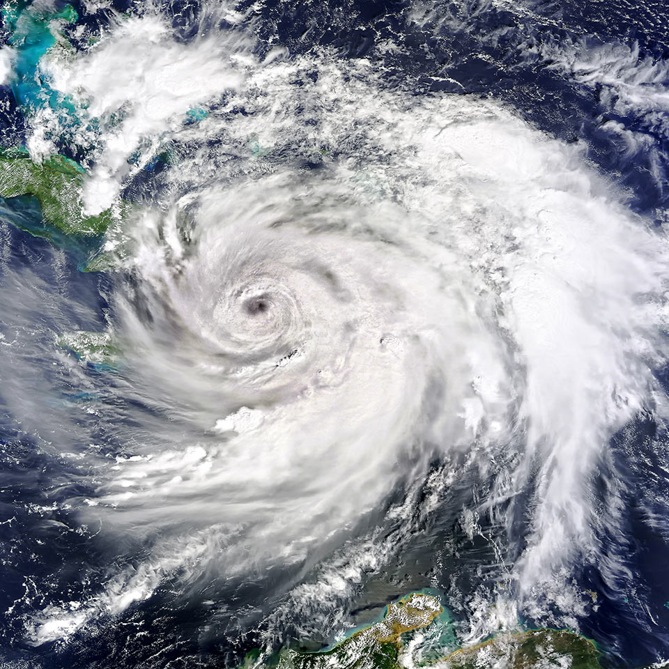A satellite view of Hurricane Matthew as it hit Haiti