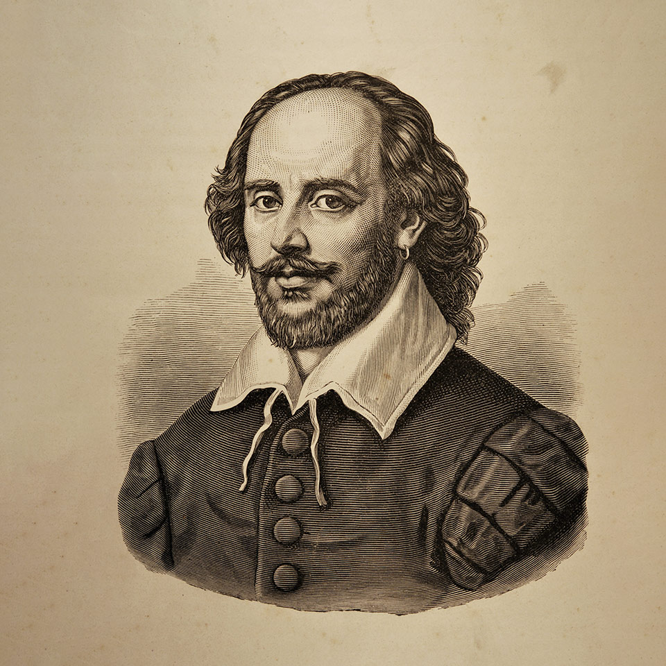 Illustration of William Shakespeare taken from the Dramatic Works by William Shakespeare