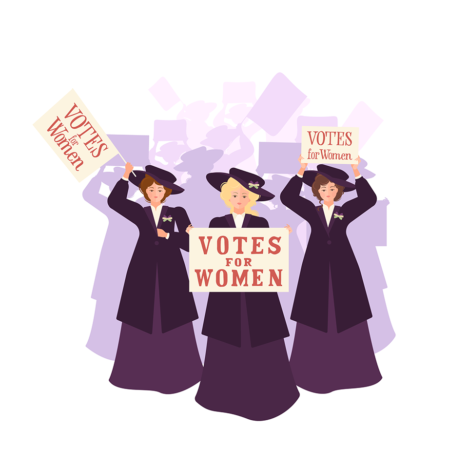"""Three suffragettes leading a crowd with a """"Votes for Women"""" poster"""