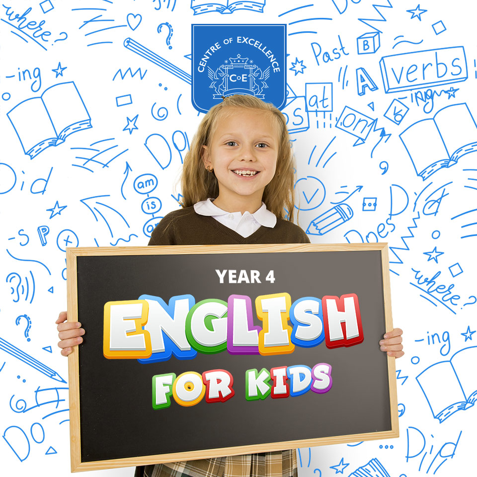 Child in school uniform holding a blackboard that has the words Year 4 English for Kids written on it