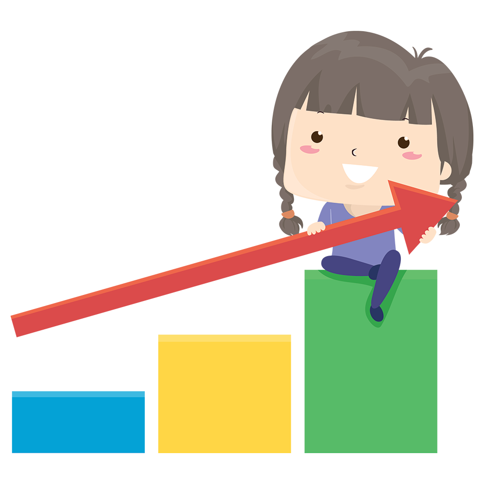 Illustration of a girl sitting on top of a bar chart and holding an arrow that's pointing upwards