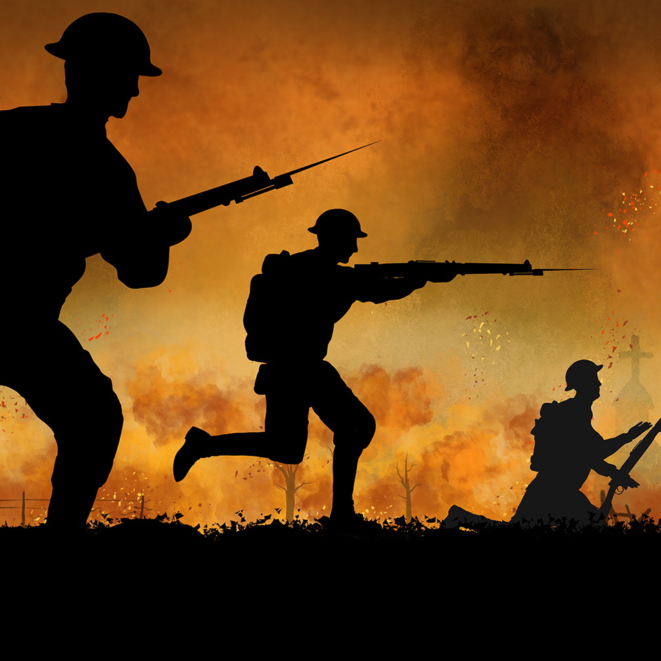 Silhouette illustration of British soldiers fighting in WW1